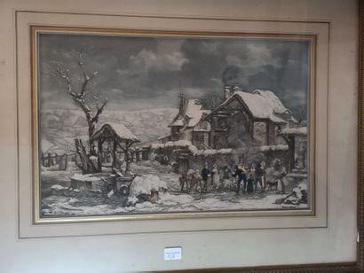 Scène de village en hiver, d'après DEBUCOURT...