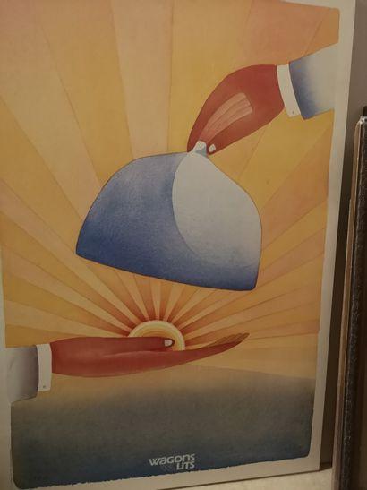 Affiche des Wagon Lits sur panneau. Par Folon...
