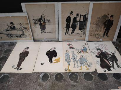 Lot de 8 caricatures comprenant :    Trois...