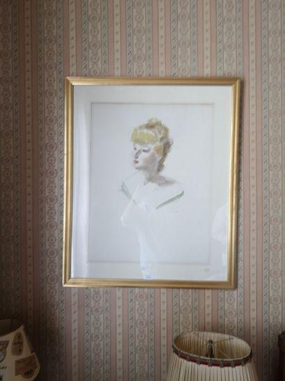DIGNIMONT    Femme en buste    Aquarelle...