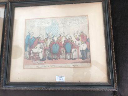 """Lot de 4 gravures dont : Les Beignets, L'heureuse Fécondité, Caricature """"""""Volunteer..."""