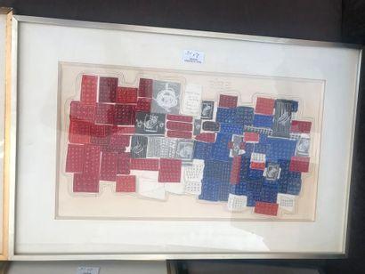 Lot de 5 compositions modernes. -Agnès Capri. Composition géométrique polychrome...