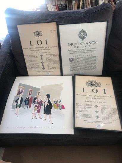 Lot de 3 encadrés : Lois et Ordonnance du...