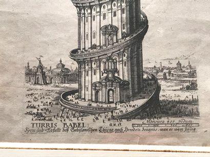 Travail allemand. La Tour de Babel. Gravure...