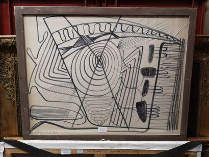 Composition    Dessin encadré portant signature...