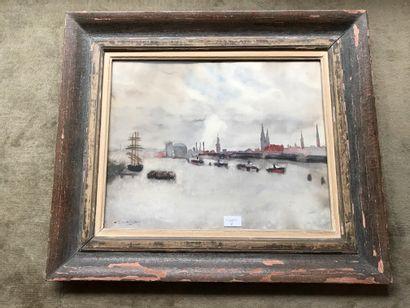 Georges DAUKING  Vue de Port  Aquarelle SBG...