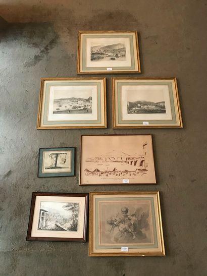 Lot de 11 encadrés, reproductions, gravures,...