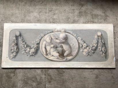 Dessus de porte en grisaille  41 x 102 cm...