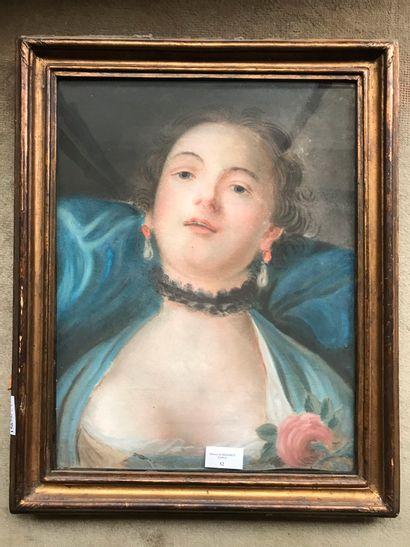 D'après R. CARREIRA  Portrait de femme  Pastel....