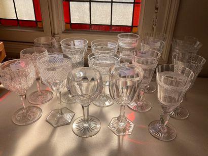 Lot d'une quinzaine de verres dépareillés...