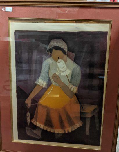 Louis Toffoli  Fileuse de laine  Lithographie...