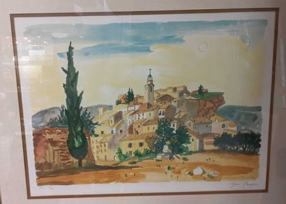 Vue de village, lithographie BRAYER