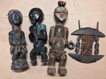 Caisse ensemble objets africains sculptu...