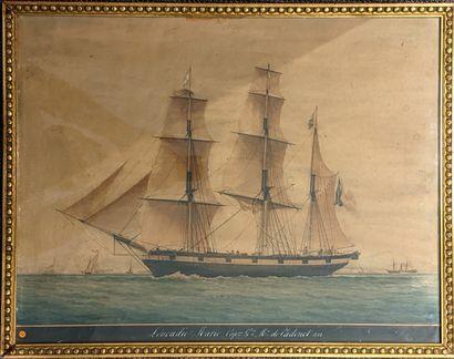 Ecole du XIXe siècle  Trois mats  Aquarelle...