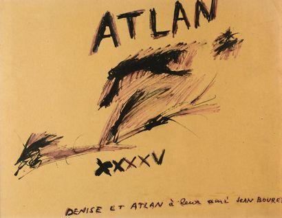 Jean-Michel ATLAN (1913 - 1960) Dans titre, 1945 Dessin à l'encre rehaussé de rose,...