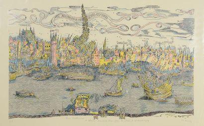 Pol BURY (1922 - 2005) Port d' Anvers. Circa 1977. Impression en couleurs, signée...