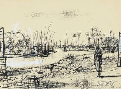 Jean CARZOU (1907 - 2000) - Les palmiers,...
