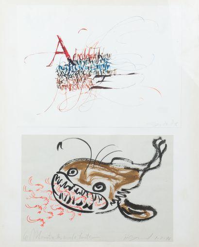 ECOLE MODERNE - Calligraphie, 1996 - Le monstre...