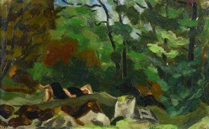 Roger BISSIERE ( 1886 - 1964) - Femme couchée dans un paysage, 1923, 1925 - Huile...