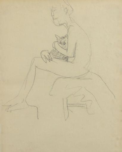 Albert MARQUET (1875 -1947) - Nu au tabouret...