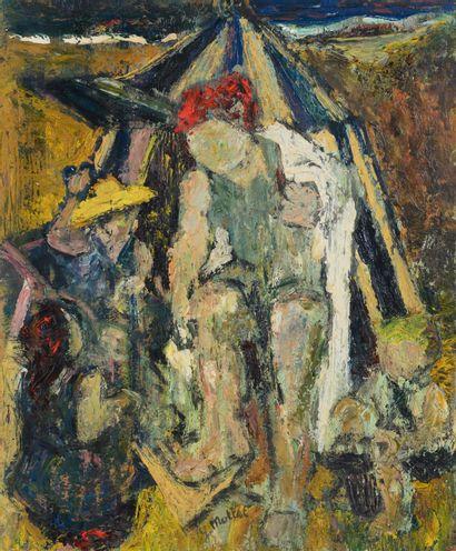 Yvonne MOTTET (1906 - 1968) - Sur la plage...