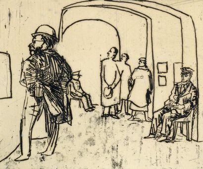 Robert WEHRLIN (1903 - 1964) - Intérieur d'une galerie Jeux enfantins. - Deux gravures,...