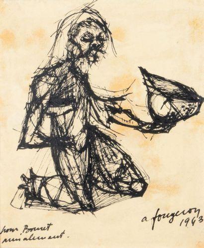 André FOUGERON (1913 - 1998) Le mendiant,...