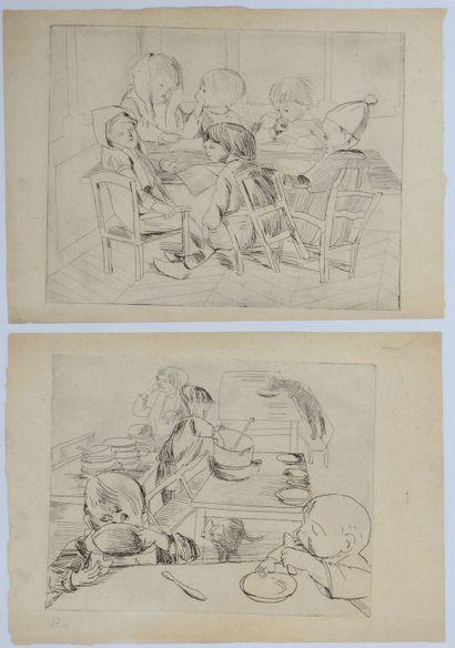 Robert WEHRLIN (1903 - 1964) - Deux scènes enfantines. - Deux eaux-fortes dans un...
