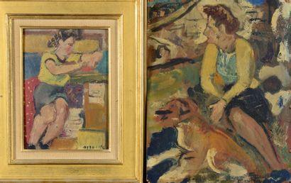 François DESNOYER (1894 - 1972) - Le tricot...