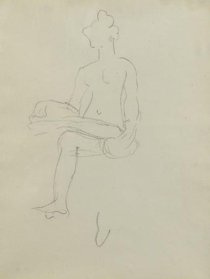 Albert MARQUET (1875 -1947) - Nu assis -...