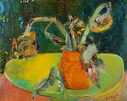 Bernard LORJOU (1908 - 1986) - Vase de tournesols...