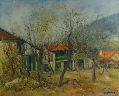 Isaac ANTCHER (1899 - 1992) - La ferme - Huile sur toile, signée en bas à droite...