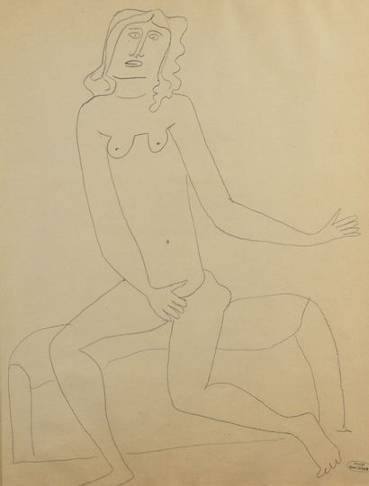 André DERAIN (1880 - 1954) - Nu assis à la...