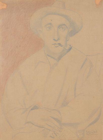 Roger BISSIERE (1886 - 1964) - Portrait, 1922 - Dessin au crayon noir sur papier...