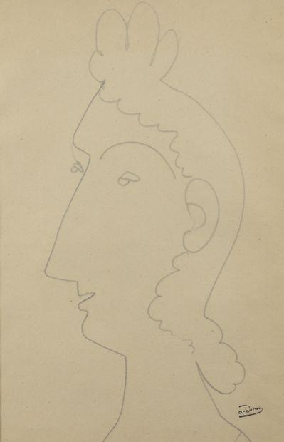 André DERAIN (1880 - 1954) - Profil de femme...