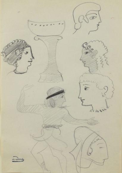 André DERAIN (1880 - 1954) - Etudes de têtes...