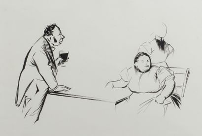 Jean-Louis FORAIN (1852 - 1931) - Le verre...