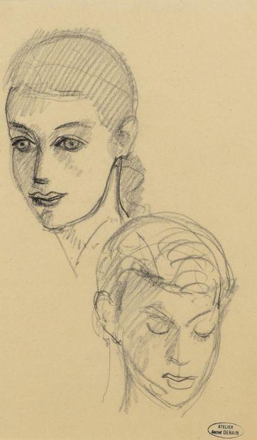 André DERAIN (1880 - 1954) - Etude de visages...