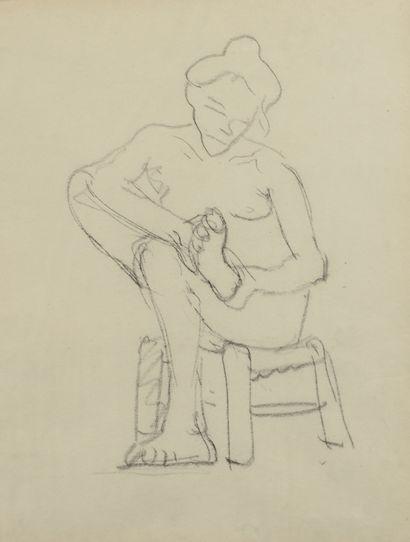 Albert MARQUET (1875 -1947) - Femme nue assise...