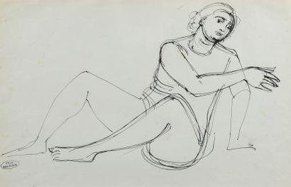 André DERAIN (1880 - 1954) - Nu assis au...