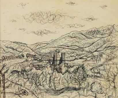 Jean CARZOU (1907 - 2000 ) - Paysage de Provence,...