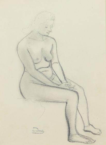 André DERAIN (1880 - 1954) - Modèle nu assis...