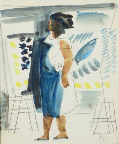 Max PAPART (1911 - 1994) - Le tablier bleu,...