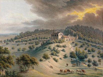 Maria Margaret BOISSIER (Active à la fin du XVIIIème siècle) Paysage du Montet sous...