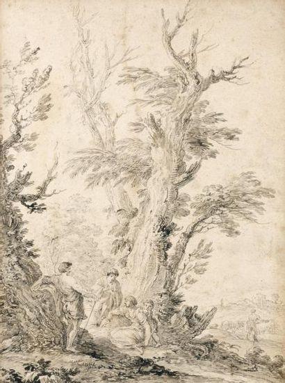 Joseph Antoine DAVID de MARSEILLE (Marseille 1723 - 1789) Etudes d'arbres avec promeneurs...