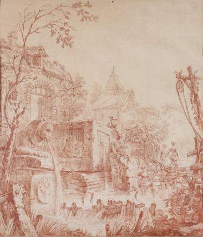 Georges - François BLONDEL (Paris 1730 - après 1792) Lavandières dans des ruines...