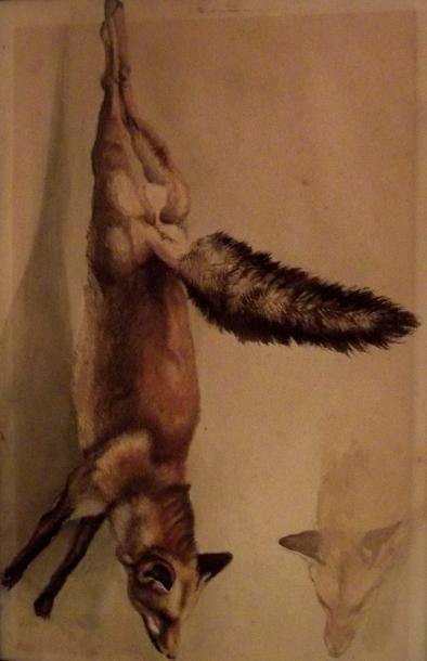 Le renard Aquarelle sur papier. Dim. 27,...