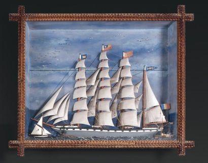 DIORAMA Trois-mâts, barque Pacifique avec...
