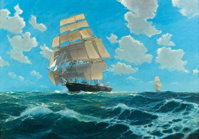 Etienne BLANDIN (1903-1991) Trois-mâts sur une mer formée Huile sur isorel, signée...