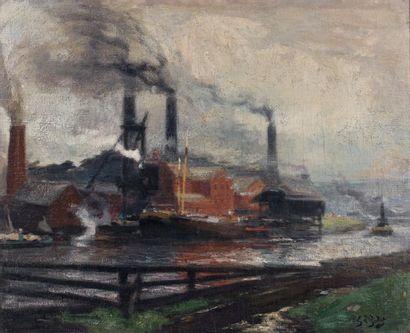 Eugène-Louis GILLOT (1867-1925) Usines au bord de la Seine Huile sur toile marouflée...
